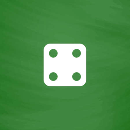 backgammon: One dices - side with 4. Flat Icon. Imitation draw with white chalk on green chalkboard. Flat Pictogram and School board background. Vector illustration symbol