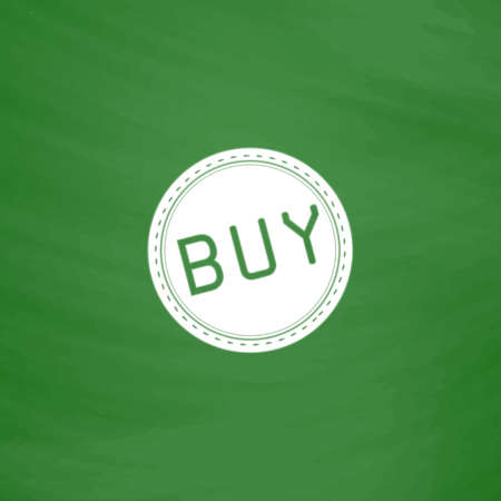 price uncertainty: Buy Badge, Label or Sticker. Flat Icon. Imitation draw with white chalk on green chalkboard. Flat Pictogram and School board background. Vector illustration symbol Illustration