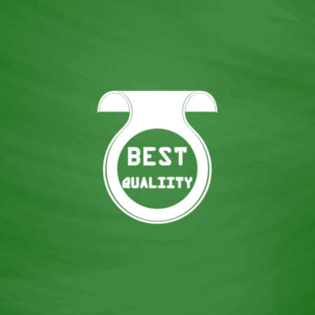 price uncertainty: Best Quality Badge, Label or Sticker. Flat Icon. Imitation draw with white chalk on green chalkboard. Flat Pictogram and School board background. Vector illustration symbol Illustration