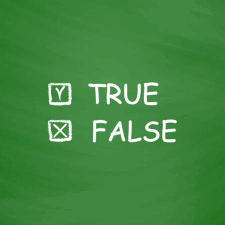 validity: True and False. Flat Icon. Imitation draw with white chalk on green chalkboard. Flat Pictogram and School board background. Vector illustration symbol Illustration