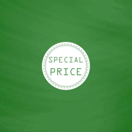 price uncertainty: Special Badge, Label or Sticker. Flat Icon. Imitation draw with white chalk on green chalkboard. Flat Pictogram and School board background. Vector illustration symbol