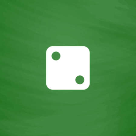 tossing: One dices - side with 2. Flat Icon. Imitation draw with white chalk on green chalkboard. Flat Pictogram and School board background. Vector illustration symbol