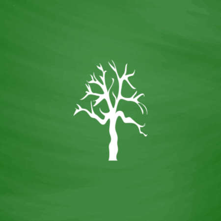Tree Silhouette. Flat Icon. Imitation draw with white chalk on green chalkboard. Flat Pictogram and School board background. Vector illustration symbol