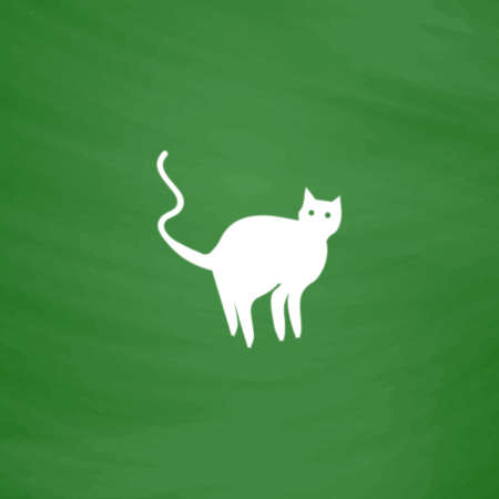 Evil Cat silhouette. Flat Icon. Imitation draw with white chalk on green chalkboard. Flat Pictogram and School board background. Vector illustration symbol Illustration