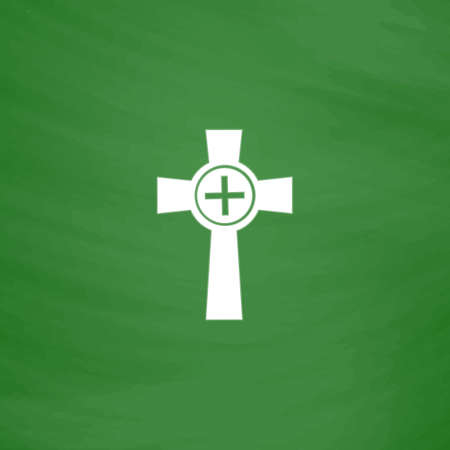 funerary: Tombstone - cross gravestone. Flat Icon. Imitation draw with white chalk on green chalkboard. Flat Pictogram and School board background. Vector illustration symbol Illustration