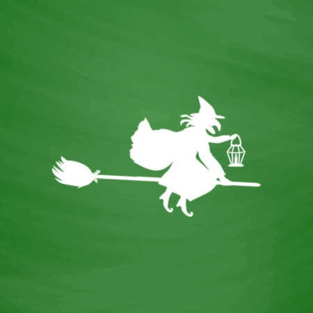 witch silhouette: Halloween witch. Silhouette. Flat Icon. Imitation draw with white chalk on green chalkboard. Flat Pictogram and School board background. Vector illustration symbol