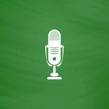 Simple retro microphone. Flat Icon. Imitation draw with white chalk on green chalkboard. Flat Pictogram and School board background. Vector illustration symbol
