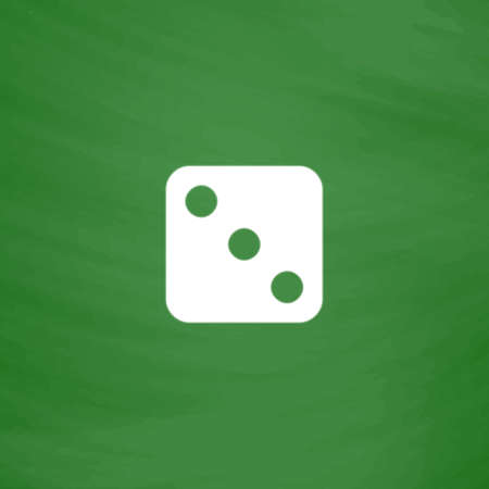 One dices - side with 3. Flat Icon. Imitation draw with white chalk on green chalkboard. Flat Pictogram and School board background. Vector illustration symbol Illustration