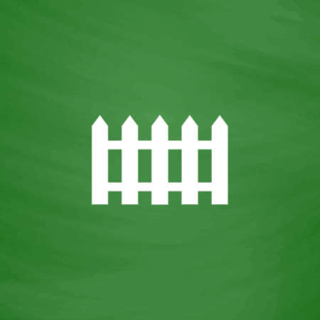 symbol fence: Fence icon. Flat Icon. Imitation draw with white chalk on green chalkboard. Flat Pictogram and School board background. Vector illustration symbol