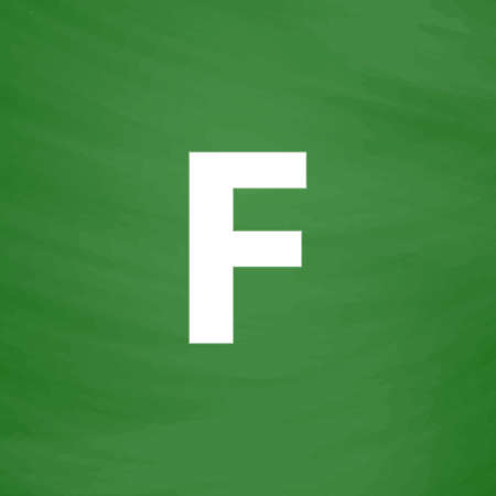 friend nobody: Letter F. Flat Icon. Imitation draw with white chalk on green chalkboard. Flat Pictogram and School board background. Vector illustration symbol