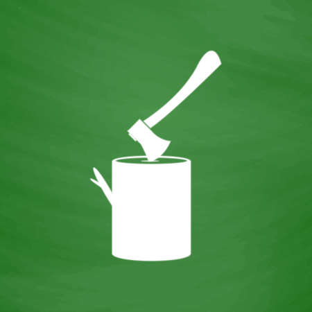 sawdust: Tool lumberjack ax in a wooden deck. Flat Icon. Imitation draw with white chalk on green chalkboard. Flat Pictogram and School board background. Vector illustration symbol