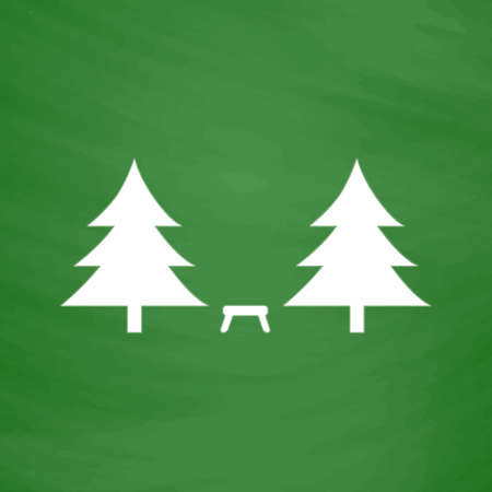 Camping among the trees. Flat Icon. Imitation draw with white chalk on green chalkboard. Flat Pictogram and School board background. Vector illustration symbol Illustration
