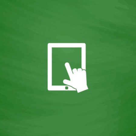 depress: Click on the screen tablet. Flat Icon. Imitation draw with white chalk on green chalkboard. Flat Pictogram and School board background. Vector illustration symbol