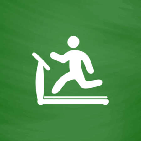 stamina: Running, treadmill. Flat Icon. Imitation draw with white chalk on green chalkboard. Flat Pictogram and School board background. Vector illustration symbol