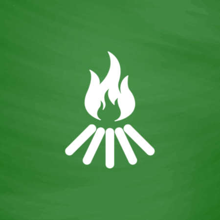 flammable warning: Bonfire vector. Flat Icon. Imitation draw with white chalk on green chalkboard. Flat Pictogram and School board background. Vector illustration symbol