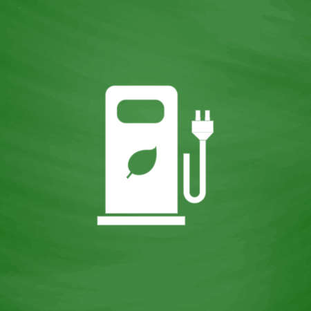 bio fuel: Electric car charging station or Bio fuel petrol. Flat Icon. Imitation draw with white chalk on green chalkboard. Flat Pictogram and School board background. Vector illustration symbol