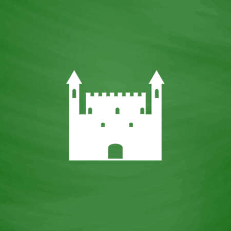 Castle. Flat Icon. Imitation draw with white chalk on green chalkboard. Flat Pictogram and School board background. Vector illustration symbol