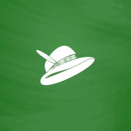 elegantly: Hat with a feather. Flat Icon. Imitation draw with white chalk on green chalkboard. Flat Pictogram and School board background. Vector illustration symbol