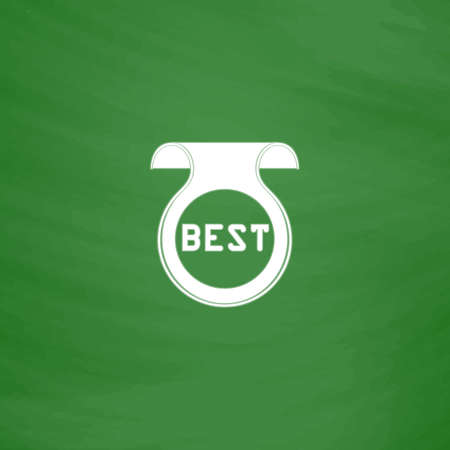 price uncertainty: Bookmark with Best message. Flat Icon. Imitation draw with white chalk on green chalkboard. Flat Pictogram and School board background. Vector illustration symbol