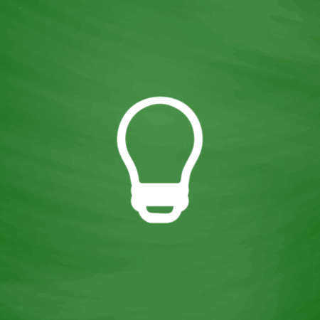 edison: Led lamp. Flat Icon. Imitation draw with white chalk on green chalkboard. Flat Pictogram and School board background. Vector illustration symbol Illustration