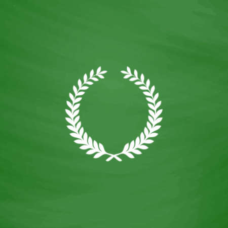 triumphant: Victory laurel wreath. Flat Icon. Imitation draw with white chalk on green chalkboard. Flat Pictogram and School board background. Vector illustration symbol