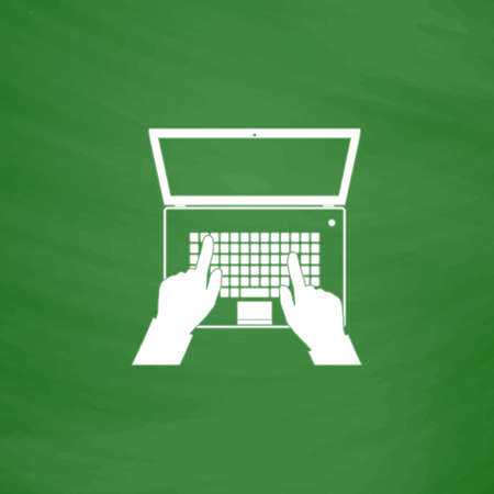 Business hands on notebook computer keyboard with open screen. Flat Icon. Imitation draw with white chalk on green chalkboard. Flat Pictogram and School board background. Vector illustration symbol