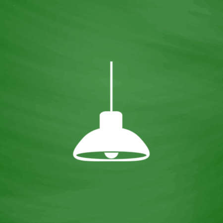 Ceiling lamp. Flat Icon. Imitation draw with white chalk on green chalkboard. Flat Pictogram and School board background. Vector illustration symbol