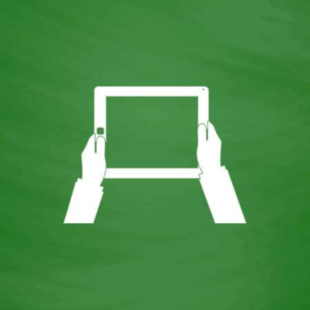 Hands holding tablet computer with blank screen. Flat Icon. Imitation draw with white chalk on green chalkboard. Flat Pictogram and School board background. Vector illustration symbol