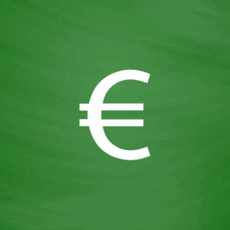 Euro. Flat Icon. Imitation draw with white chalk on green chalkboard. Flat Pictogram and School board background. Vector illustration symbol