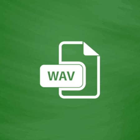 wav: WAV audio file extension. Flat Icon. Imitation draw with white chalk on green chalkboard. Flat Pictogram and School board background. Vector illustration symbol Illustration