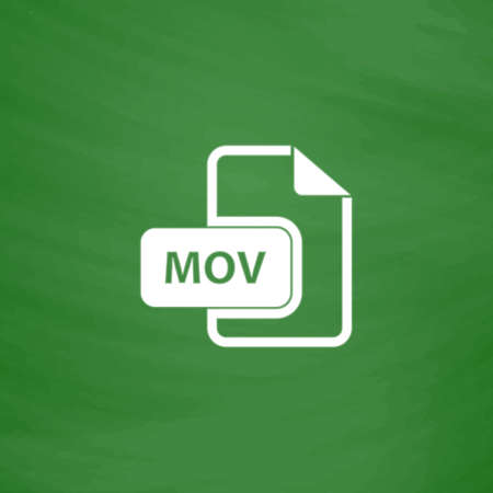 mpg: MOV video file extension. Flat Icon. Imitation draw with white chalk on green chalkboard. Flat Pictogram and School board background. Vector illustration symbol Illustration