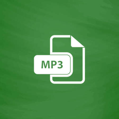 file extension: MP3 audio file extension. Flat Icon. Imitation draw with white chalk on green chalkboard. Flat Pictogram and School board background. Vector illustration symbol