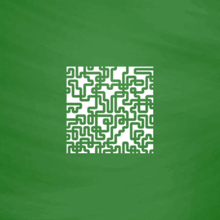 labirinth: Labyrinth Puzzle rebus. Flat Icon. Imitation draw with white chalk on green chalkboard. Flat Pictogram and School board background. Vector illustration symbol