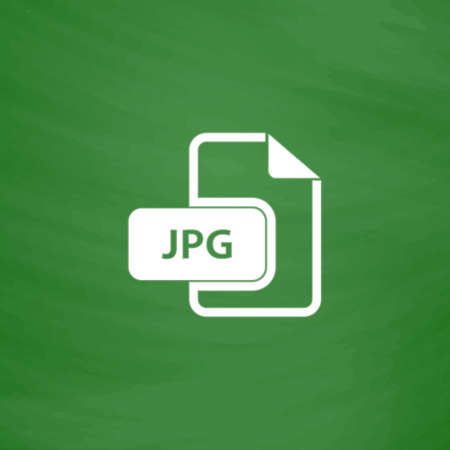 to unpack: JPG image file extension. Flat Icon. Imitation draw with white chalk on green chalkboard. Flat Pictogram and School board background. Vector illustration symbol