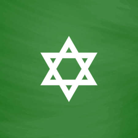 Star of David. Flat Icon. Imitation draw with white chalk on green chalkboard. Flat Pictogram and School board background. Vector illustration symbol Illustration