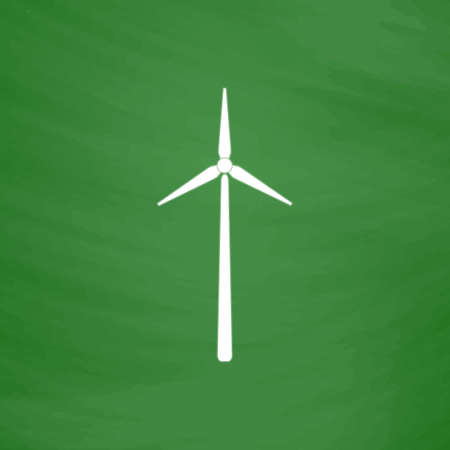 Windmill. Flat Icon. Imitation draw with white chalk on green chalkboard. Flat Pictogram and School board background. Vector illustration symbol