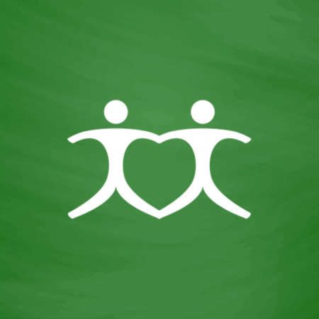 cooperate: Connecting people as a heart - pair. Flat Icon. Imitation draw with white chalk on green chalkboard. Flat Pictogram and School board background. Vector illustration symbol
