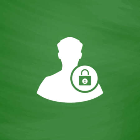 authenticate: User login or authenticate. Flat Icon. Imitation draw with white chalk on green chalkboard. Flat Pictogram and School board background. Vector illustration symbol