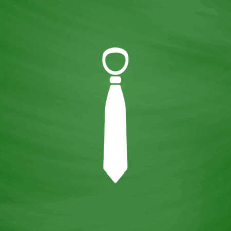 Tie. Flat Icon. Imitation draw with white chalk on green chalkboard. Flat Pictogram and School board background. Vector illustration symbol Illustration