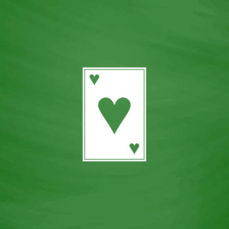 joker playing card: Hearts card. Flat Icon. Imitation draw with white chalk on green chalkboard. Flat Pictogram and School board background. Vector illustration symbol