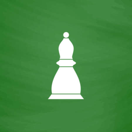 sports symbols metaphors: Chess officer. Flat Icon. Imitation draw with white chalk on green chalkboard. Flat Pictogram and School board background. Vector illustration symbol