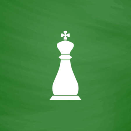 Chess king. Flat Icon. Imitation draw with white chalk on green chalkboard. Flat Pictogram and School board background. Vector illustration symbol