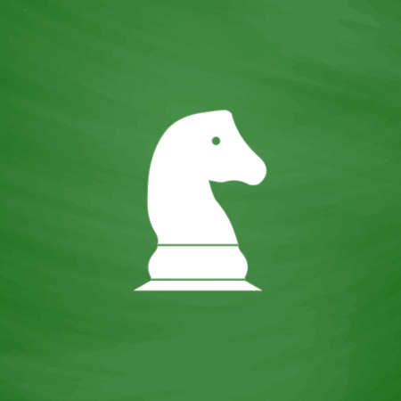 Chess knight. Flat Icon. Imitation draw with white chalk on green chalkboard. Flat Pictogram and School board background. Vector illustration symbol Illustration