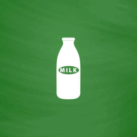 nonfat: Milk bottle. Flat Icon. Imitation draw with white chalk on green chalkboard. Flat Pictogram and School board background. Vector illustration symbol