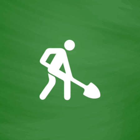 Building site. Flat Icon. Imitation draw with white chalk on green chalkboard. Flat Pictogram and School board background. Vector illustration symbol