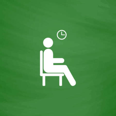 waiting room: Waiting. Flat Icon. Imitation draw with white chalk on green chalkboard. Flat Pictogram and School board background. Vector illustration symbol Illustration