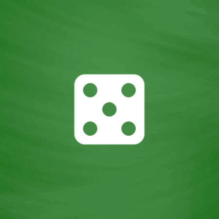 backgammon: One dices - side with 5. Flat Icon. Imitation draw with white chalk on green chalkboard. Flat Pictogram and School board background. Vector illustration symbol
