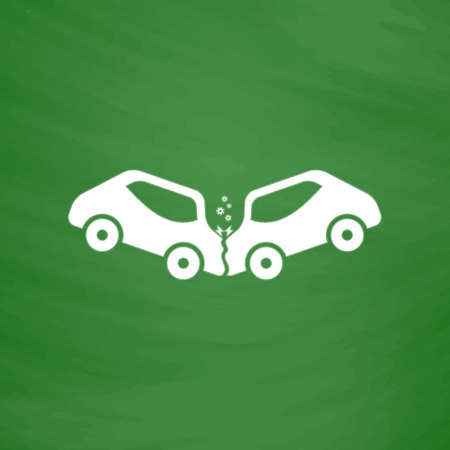 Car crash and accidents. Flat Icon. Imitation draw with white chalk on green chalkboard. Flat Pictogram and School board background. Vector illustration symbol