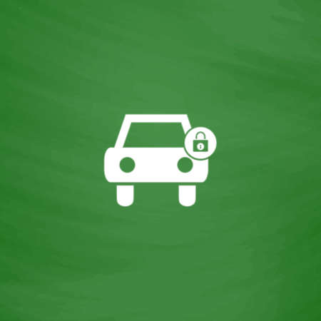 car lock: Car lock. Flat Icon. Imitation draw with white chalk on green chalkboard. Flat Pictogram and School board background. Vector illustration symbol