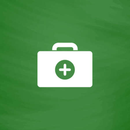medical box: Medical box. Flat Icon. Imitation draw with white chalk on green chalkboard. Flat Pictogram and School board background. Vector illustration symbol